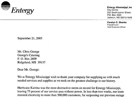 Letter of thanks for Entergy for help during Hurricane Katrina